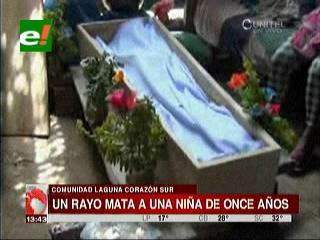 Comunidad Laguna Corazón: Rayo mata a una niña de 11 años