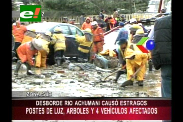 Desborde del río Achumani genera destrozos en el sur de La Paz