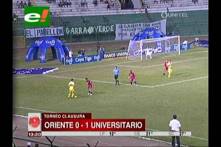 Oriente Petrolero cae de local con Universitario por 1-0