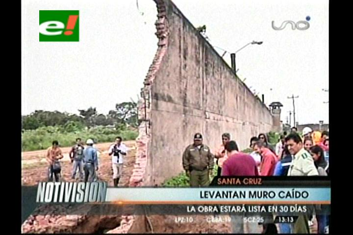 Inician obras de reposición de la barda del penal de Palmasola