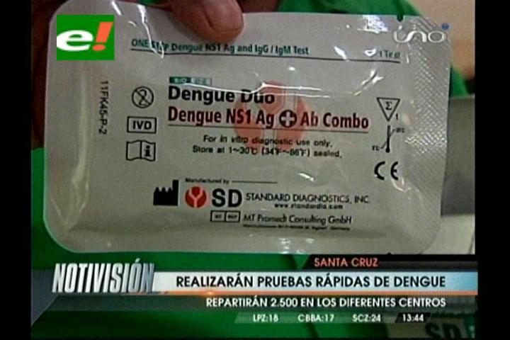 Realizarán pruebas rápidas de dengue