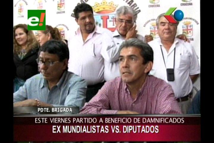 Partido benéfico por los damnificados de Beni, parlamentarios versus ex mundialistas