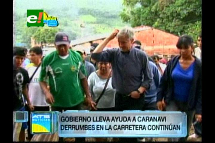 García Linera lleva ayuda a Caranavi, afectado por las inundaciones