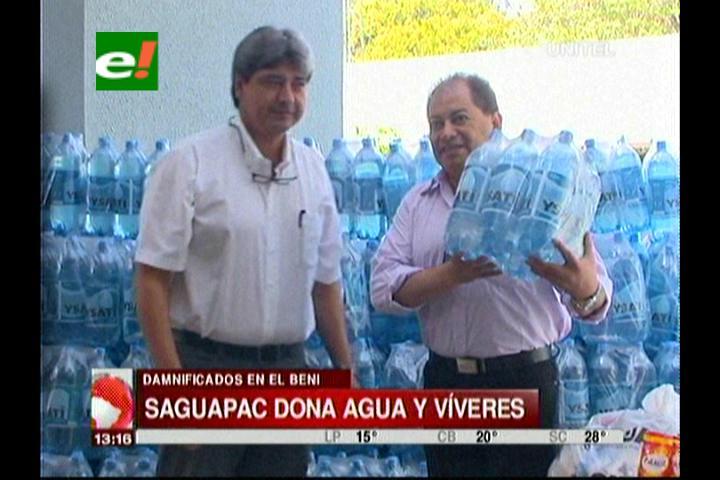 Saguapac dona 10 mil litros de agua para los damnificados de Beni