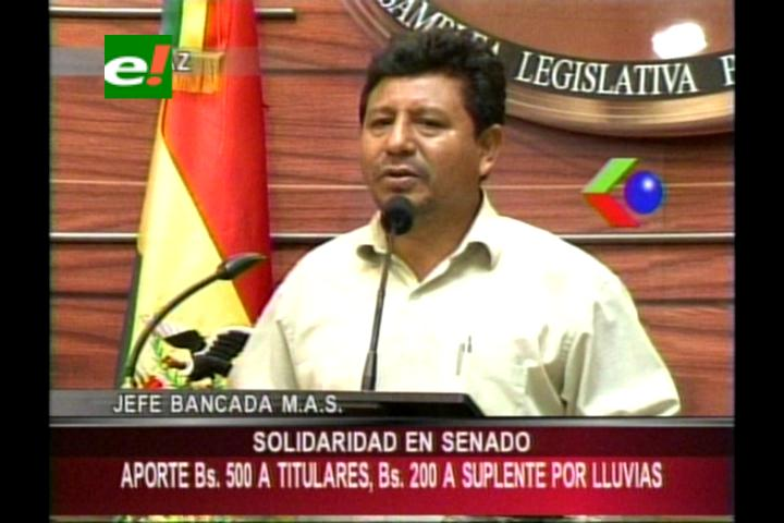 Senado descontará bs 500 a asambleístas titulares y 200 a suplentes para ayudar a los damnificados