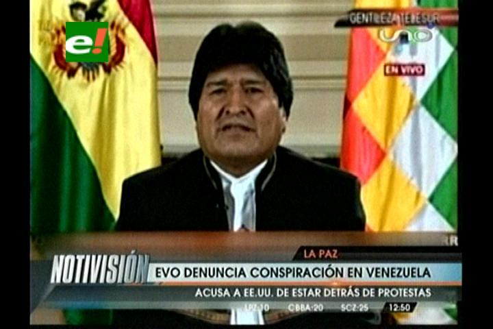 """Evo: """"EEUU quiere la intervención de Venezuela por organismos internacionales"""""""