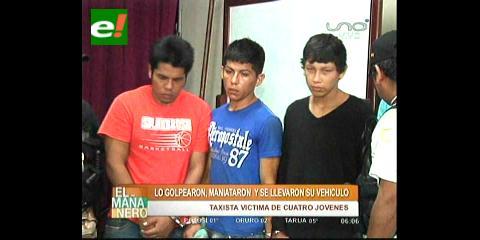 Detienen a 4 atracadores con auto robado
