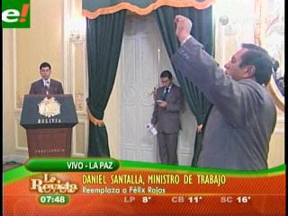 Evo sorprende y posesiona a Santalla como nuevo Ministro de Trabajo