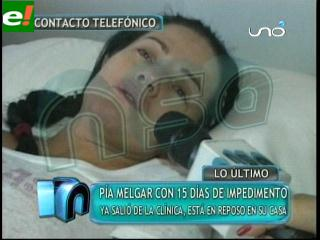 Pía Melgar deja la clínica con anemia aguda
