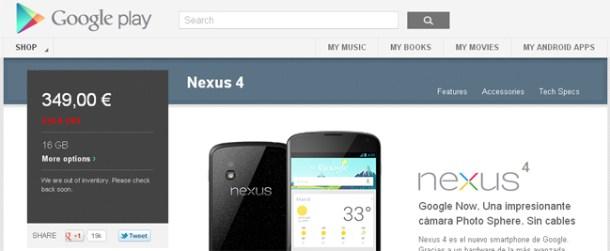 Sin Nexus 4 en la Google Play
