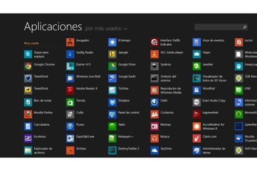 La vista de todas las aplicaciones instaladas.