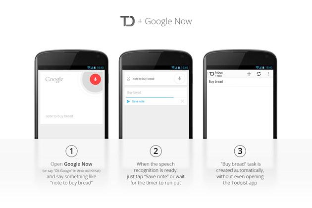 Todoist 2.1 para Android te permite crear tareas de viva voz con Google Now