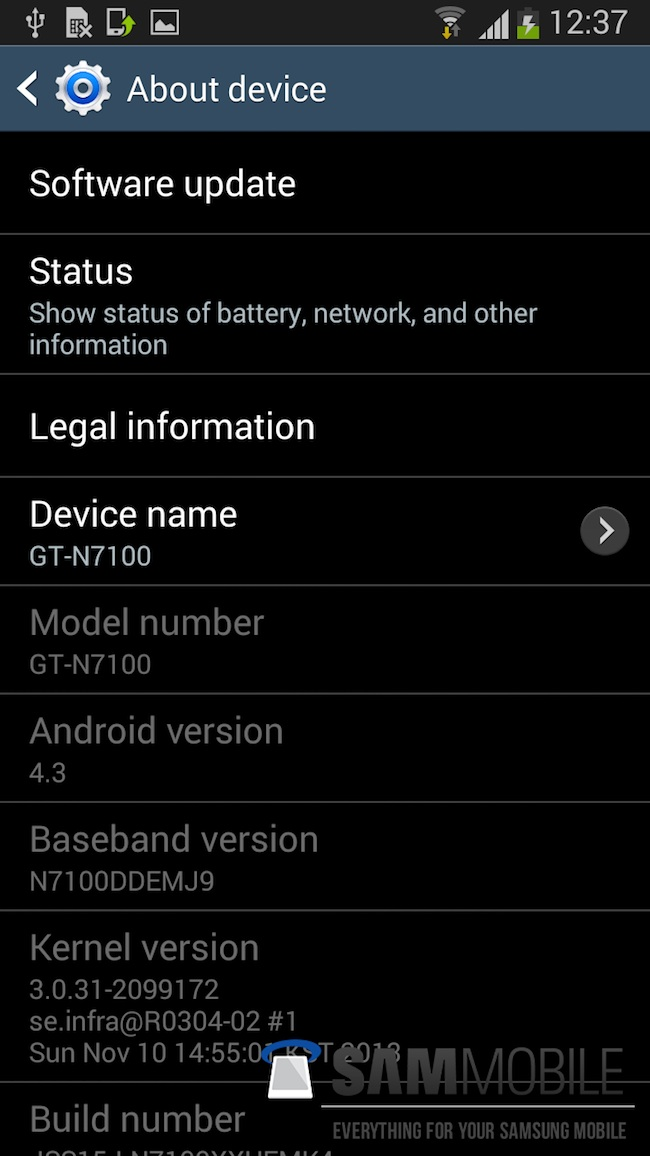 android 4.3 samsung galaxy note 2