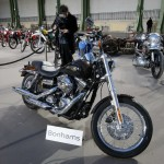 The 1,585 cc Harley Davidson Dyna Super Glide, donated to Pope Francis last year and signed by him on its tank, is displayed ahead of a Bonham's sale of vintage and classic cars at the Grand Palais in Paris