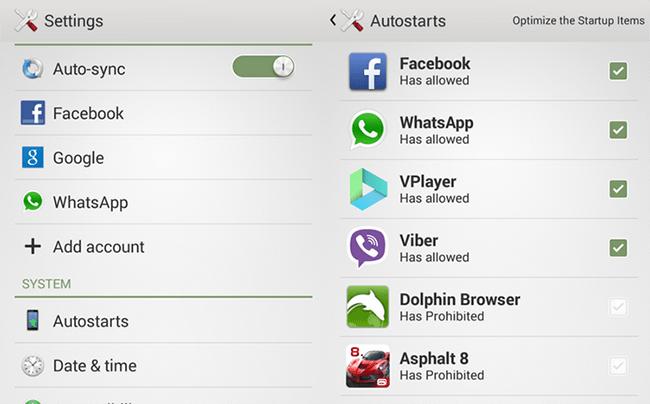 Opciones Autostart Xperia