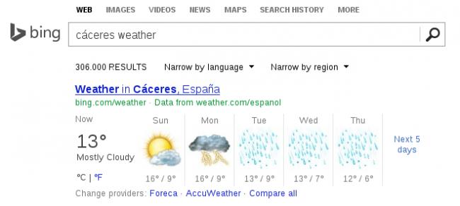Búsquedas semánticas en Bing