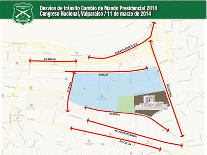 Mapa de los desvíos de tránsito en Valparaíso por la ceremonia de cambio de mando. Foto: Carabineros de Chile