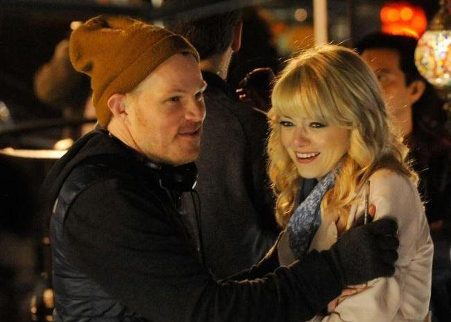 Marc Webb y Emma Stone durante el rodaje