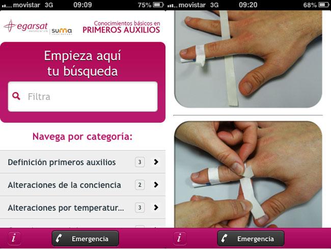 Primeros auxilios, captura de pantalla