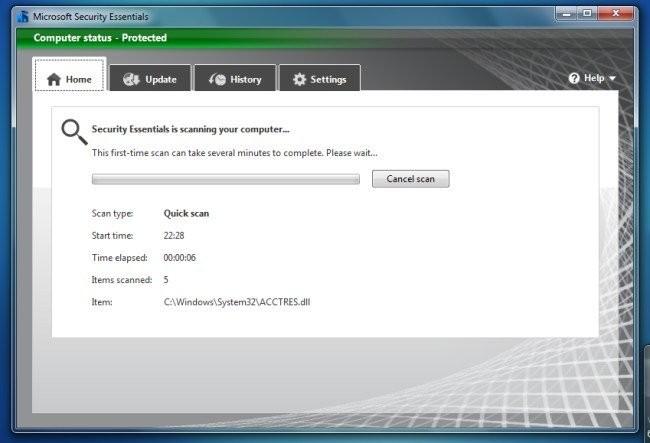Captura de pantalla de un análisis de Microsoft Security Essentials en Windows 7