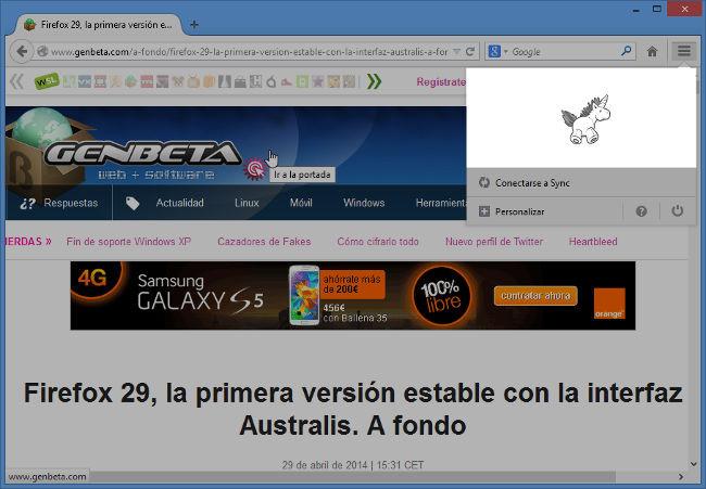 Sorpresa en Firefox 29