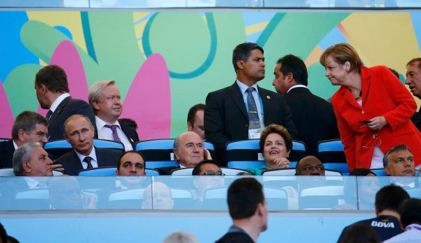Leaders attend the 2014 World Cup final between Germany and Argentina at the Maracana stadium in Rio de Janeiro