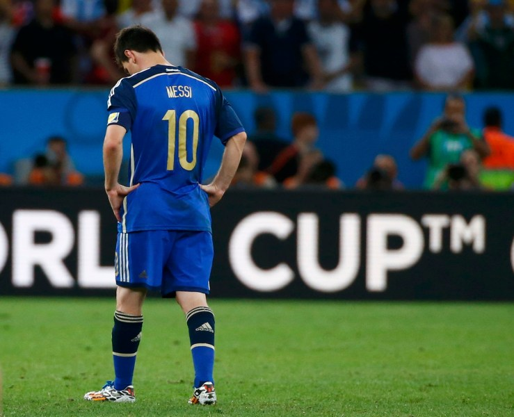 Argentina's Lionel Messi reacts after the whistle at extra time in the 2014 World Cup final between Germany and Argentina at the Maracana stadium