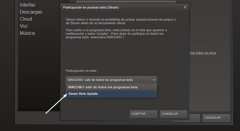 activar steam music beta