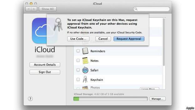 Captura de pantalla con acceso a copia de seguridad en iCloud.