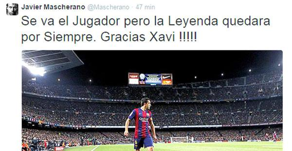 Esto publicó en su cuenta de Twitter Javier Mascherano para su compañero de equipo, Xavi Hernández, una vez concluya la temporada de la Liga española