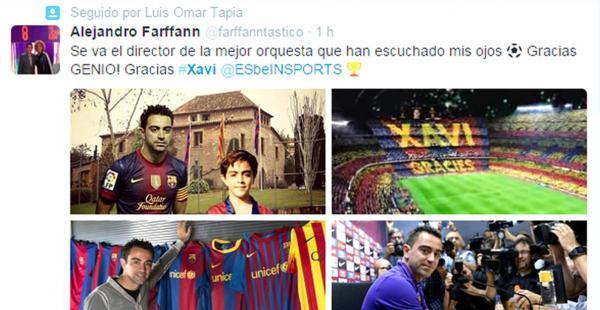 Una publicación con cuatro fotografías resumen los mejores momentos de Xavi Hernández para Alejandro Farffann