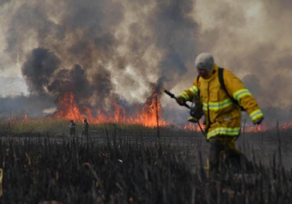 Bomberos y un técnico de la Unidad de Gestión de Riesgos (UGR) de la Gobernación intentan combatir el incendio con llamas de hasta cuatro metros de alto que se reactivó ayer por la mañana. - Diego Cartagena Periodista Invitado