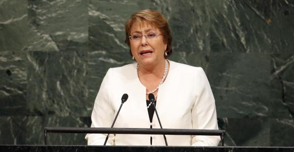 La presidenta chilena, Michelle Bachelet, participó en la Asamblea General de las Naciones Unidas y obvió el tema del mar
