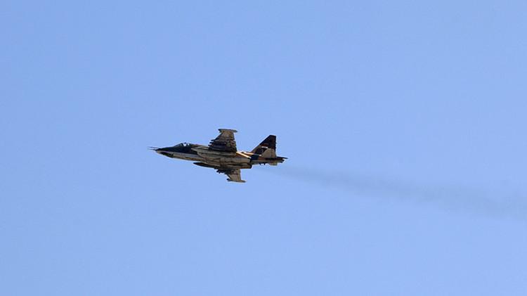 Avión de ataque Su-25 de La Fuerza Aérea de Irak en la base aérea de Tikrit, cerca de Bagdad