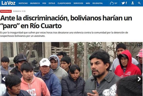 La comunidad boliviana en el barrio Las Delicias de Río Cuarto de Córdoba.  Foto: Diario argentino La Voz. -     Agencia