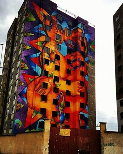 Mural que el pintor Mamani Mamani pintó en las viviendas sociales que se construyen en Villa Mercedario de la ciudad de El Alto. Foto: Roberto Mamani Mamani.
