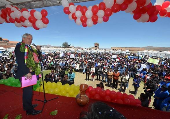 El presidente en ejercicio, Álvaro García Linera, ayer en un acto en Potosí. -   Abi Agencia