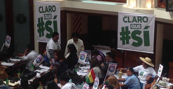 El oficialismo usa el color verde para hacer campaña por el Sí a la reelección de Evo Morales,