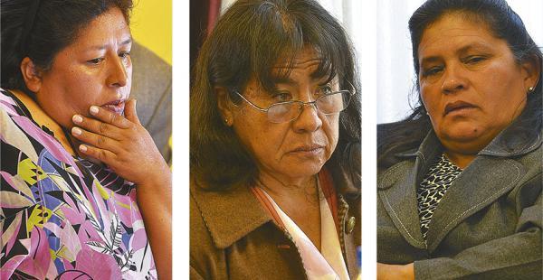Norma Concepción Espinoza, Zenaida Navarro Ramos y María Elizabeth Quispe, exvocales chuquisaqueños