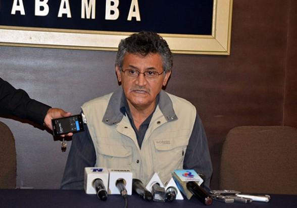 El gobernador Iván Canelas ayer en la conferencia de prensa que realizó para hablar de varios temas. | Gobernación de Cochabamba - . Agencia