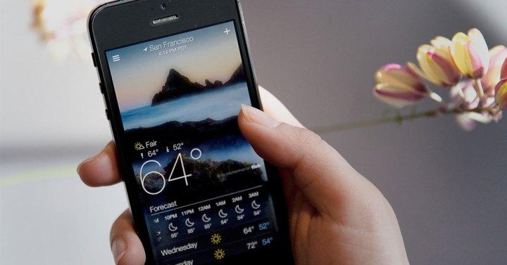 El tiempo en la pantalla de un iPhone