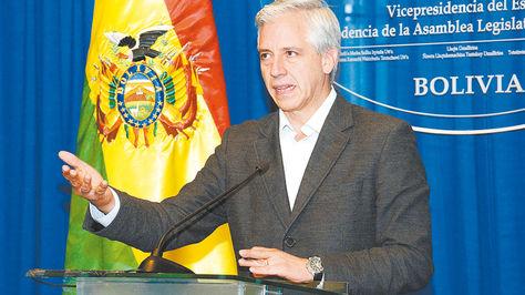 LaPaz. García Linera durante la conferencia de prensa que ofreció ayer en la Vicepresidencia.