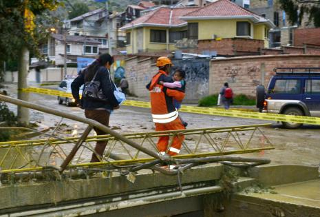 Desborde de ríos en La Paz