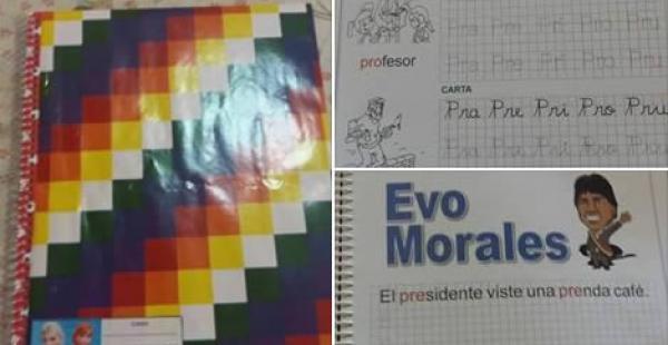 Estas son algunas de las imágenes que circularon en las redes sociales en las que se denunciaba que en algunos colegios obligaban a los estudiantes a forrar sus cuadernos con la wiphala