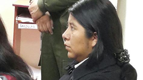 Cristina Choque en el Juzgado Tercero de Instrucción en lo penal de La Paz