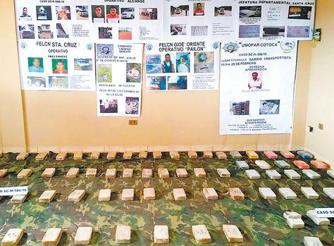 Interdicción. Una muestra de la droga hallada en Santa Cruz.