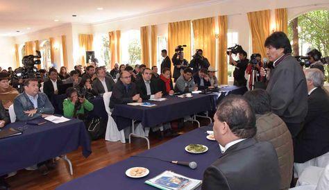 El presidente Evo Morales, instala Gabinete Ampliado en el Hotel Flor de Liz de Huajchilla. Foto: ABI