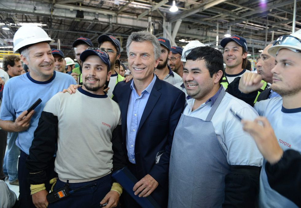Mauricio Macri, en una planta de Toyota en Zárate.