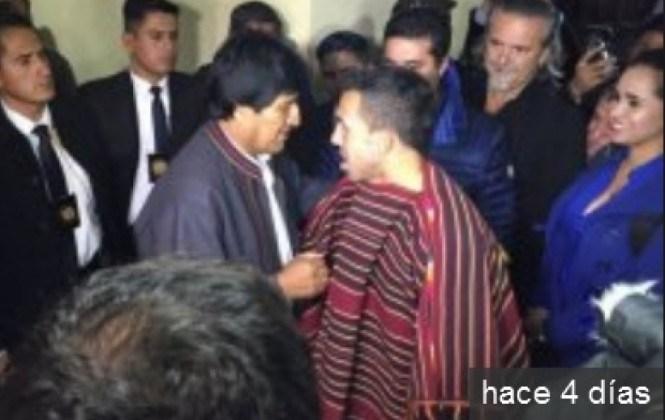 Evo compartió palco con Susana Vaca en el partido Boca-Bolivar. Mira el video