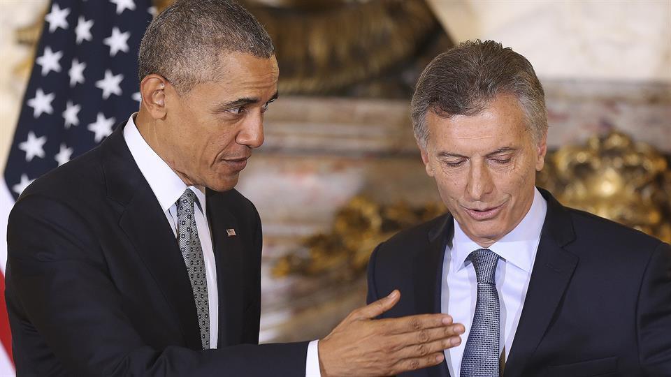 Mauricio Macri recibió a Barack Obama en la Casa Rosada. Foto: EFE